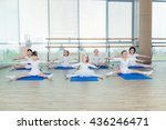 girls doing gymnastic exercises ... | Shutterstock . vector #436246471