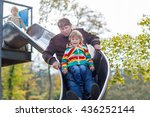young dad and little son having ... | Shutterstock . vector #436252144