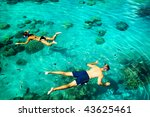 young couple snorkeling in... | Shutterstock . vector #43625461