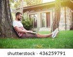 handsome bearded man is sitting ... | Shutterstock . vector #436259791
