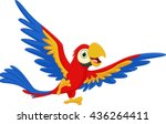 happy macaw bird cartoon | Shutterstock .eps vector #436264411