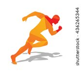 abstract orange running man.... | Shutterstock .eps vector #436265344