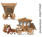 wooden vehicle pulled by two... | Shutterstock .eps vector #436270369