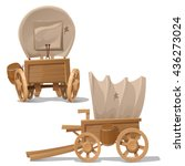 the wagon in the wild west... | Shutterstock .eps vector #436273024
