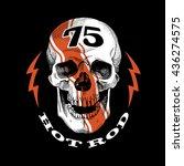 racer smiling skull emblem.... | Shutterstock .eps vector #436274575