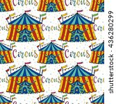 seamless pattern circus tent.... | Shutterstock .eps vector #436280299