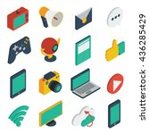 media isometric icons set with... | Shutterstock .eps vector #436285429