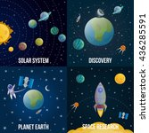 four square space universe... | Shutterstock .eps vector #436285591