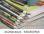 closeup of color stacked... | Shutterstock . vector #436302964