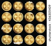 set of gold certificate seals... | Shutterstock .eps vector #436305409