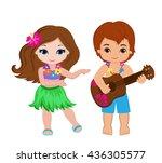 illustration of boy playing... | Shutterstock . vector #436305577