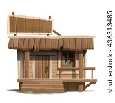A Small Wooden Building With A...