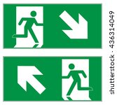 emergency exit downward right   ... | Shutterstock .eps vector #436314049