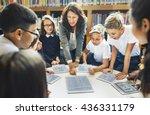 school teacher teaching... | Shutterstock . vector #436331179