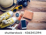 travel accessories for trip | Shutterstock . vector #436341394