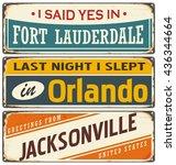 retro tin sign templates... | Shutterstock .eps vector #436344664