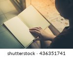 young woman reading blank book... | Shutterstock . vector #436351741