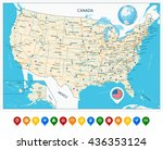 highly detailed map of united... | Shutterstock .eps vector #436353124