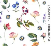 classical vintage floral... | Shutterstock . vector #436364974