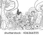mad tea party. alice's... | Shutterstock .eps vector #436366555