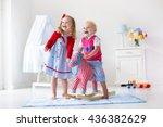two children play indoors. kids ... | Shutterstock . vector #436382629