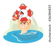 boy holding float and fish | Shutterstock . vector #436384855