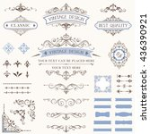 ornate retro labels  flourishes ... | Shutterstock .eps vector #436390921