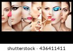 beauty collage. faces of women. ... | Shutterstock . vector #436411411