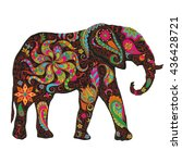 the silhouette of the elephant ... | Shutterstock .eps vector #436428721