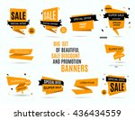 Sale banner design, graphic element. Big set of beautiful yellow discount and promotion banners. Advertising element. Sale banner tag. Sale banner art. Vector illustration, eps 10   Shutterstock vector #436434559