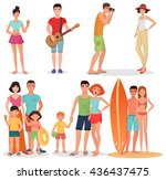 people and couples on vacation... | Shutterstock .eps vector #436437475