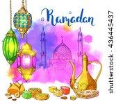 ramadan kareem card.... | Shutterstock .eps vector #436445437