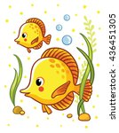 cute sea yellow  two fishes  in ...   Shutterstock .eps vector #436451305