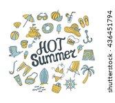 hot summer. logo design for... | Shutterstock .eps vector #436451794