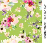 seamless pattern with flowers... | Shutterstock . vector #436464469