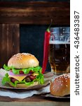 tasty beef burger with lettuce  ... | Shutterstock . vector #436483387