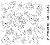 big set of cute cartoon sea... | Shutterstock .eps vector #436485151