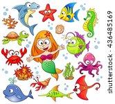 big set of cute cartoon sea... | Shutterstock .eps vector #436485169