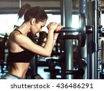 sport. beautiful woman in gym | Shutterstock . vector #436486291