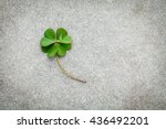 Clovers Leaves On Stone...