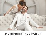 chic wedding couple groom and... | Shutterstock . vector #436492579