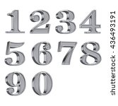 3d silver numbers numerals 0 9... | Shutterstock . vector #436493191