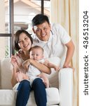 happy asian family playing with ... | Shutterstock . vector #436513204