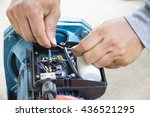 electric motor  and man working ... | Shutterstock . vector #436521295
