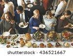 food cuisine culinary buffet... | Shutterstock . vector #436521667