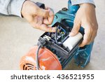 electric motor  and man working ... | Shutterstock . vector #436521955