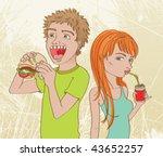 boy eating sandwich  girl... | Shutterstock .eps vector #43652257