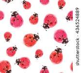 ladybird seamless pattern. bug... | Shutterstock . vector #436524889