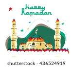 vector   happy ramadan   mosque.... | Shutterstock .eps vector #436524919