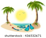 summer holidays at sea. palm... | Shutterstock . vector #436532671